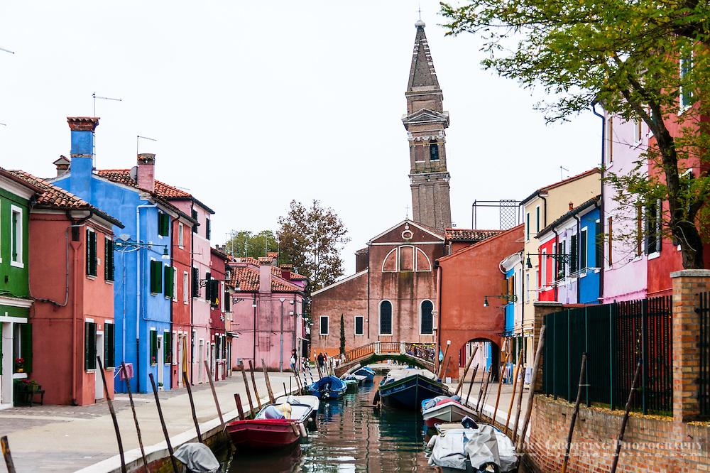 Italy, Burano. Burano is an island in the Venetian Lagoon. Leaning campanile.