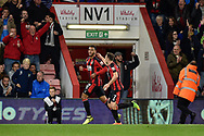 AFC Bournemouth striker Joshua King (17) scores a goal and celebrates with AFC Bournemouth midfielder Marc Pugh (7) during the EFL Cup match between Bournemouth and Brighton and Hove Albion at the Vitality Stadium, Bournemouth, England on 19 September 2017. Photo by Adam Rivers.