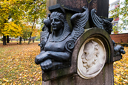Detail of ornate grave in Military Cemetery, Alter Berliner Garnisonfriedhof on Linienstrasse in Mitte Berlin Germany