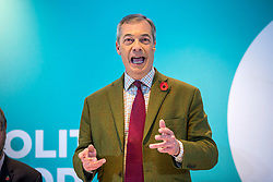 © Licensed to London News Pictures. 06/11/2019. Workington UK. Brexit Party Leader Nigel Farage is at the Washington Central Hotel today in Workington as he continues his nationwide tour as part of the General Election Campaign. Photo credit: Andrew McCaren/LNP