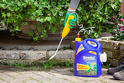 Controlling weeds on a path using a weedkiller spray