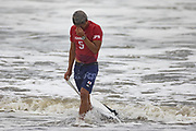 Japan's Kanoa Igarashi reacts after the men's Surfing gold medal final at the Tsurigasaki Surfing Beach, in Chiba, on July 27, 2021 during the Tokyo 2020 Olympic Games. (Photo by Yuki IWAMURA / AFP)