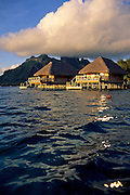 Image of the overwater bungalows at Hotel Bora Bora on Bora Bora, Tahiti, French Polynesia by Andrea Wells