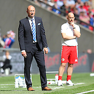 Glossop Manager Chris Willcock during the FA Vase Final between Glossop North End and North Shields at Wembley Stadium, London, England on 9 May 2015. Photo by Phil Duncan.