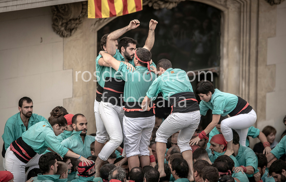 "Members of Castellers de Vilafranca build ""1 of 8 fm"" (pillar of 8) human tower of extreme difficulty in the last performance of the season in Vilafranca del Penedès,Barcelona, Spain. 1st Nov 2019."