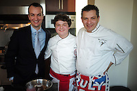 NEW YORK - April 10, 2014 - 13 year old Alexander Weiss, middle, was the winner of Master Chef Junior on TV. He goes to the British International School in New York and was invited by the British Consul General, Danny Lopez, left, to prepare a British themed dinner at the consul's residence. <br /> (Photo by Robert Caplin)