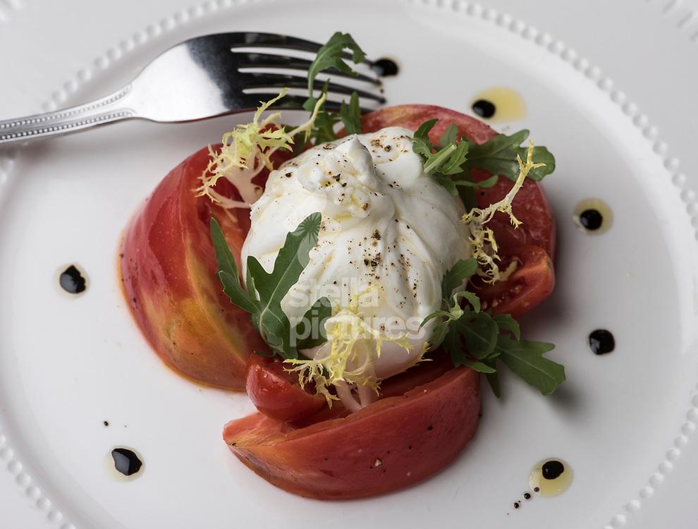 Burrata con pomodori at Il Cudega in Hackney, as part of the Evening Standard restaurant review.<br />  Picture by Daniel Hambury/Stella Pictures Ltd 07813022858<br /> 17/07/2017