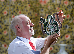 Pictured: Bonham's Danny McIlwraith with a 19th century Shou teapot from China, expected to fetch £300 - £500 GBP.<br /> <br /> Rare Asian art was on show for a photocall before it goes up for sale at Bonham's in Edinburgh.<br /> <br /> © Dave Johnston / EEm