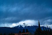 Pic de Canigou beneath storm clouds, Pyrenees Orientales, France