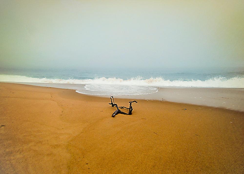 Charlestown Rhode Island beach on a foggy autumn day. Charlestown and Misquamecut, Rhode Island.