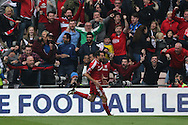 Middlesbrough FC striker Christian Stuani scores to make it 1-0 and celebrates during the Sky Bet Championship match between Middlesbrough and Brighton and Hove Albion at the Riverside Stadium, Middlesbrough, England on 7 May 2016.