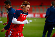 Arthur Read of Stevenage warming up during the EFL Sky Bet League 2 match between Stevenage and Walsall at the Lamex Stadium, Stevenage, England on 20 February 2021.