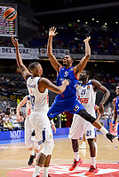 Real Madrid's Trey Thompkins and Othello Hunter and Anadolu Efes's Derrick Brown during Turkish Airlines Euroleague match between Real Madrid and Anadolu Efes at Wizink Center in Madrid, April 07, 2017. Spain.<br /> (ALTERPHOTOS/BorjaB.Hojas)