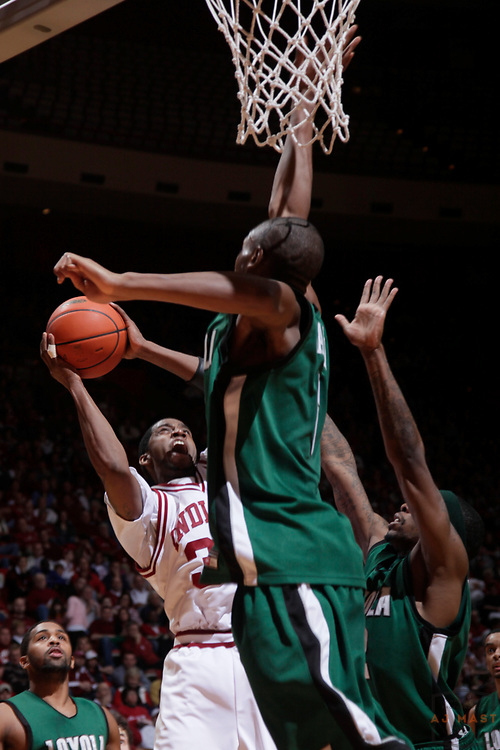 22 December 2009: Indiana guard Devan Dumes (33) as the Indiana Hoosiers played the Loyola Greyhounds in a college basketball game in Bloomington, Ind.