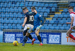 Raith Rovers Lewis Vaughan misses a chance. Raith Rovers 2 v 1 Airdrie, Scottish Football League Division One game played 10/2/2018 at Stark's Park, Kirkcaldy.