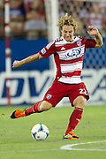 FRISCO, TX - JULY 13:  Stephen Keel #22 of FC Dallas sends the ball up field against Real Salt Lake on July 13, 2013 at FC Dallas Stadium in Frisco, Texas.  (Photo by Cooper Neill/Getty Images) *** Local Caption *** Stephen Keel