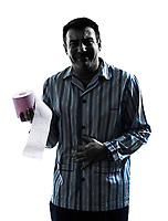 one man sick with Toilet paper in pajamas silhouettes on white background