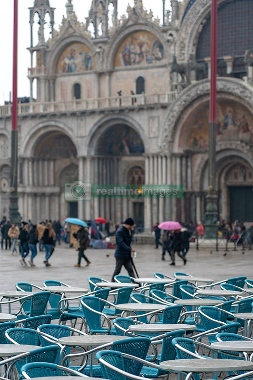 A view of St Mark's square during bad weather in Venice. From a series of travel photos in Italy. Photo date: Sunday, February 10, 2019. Photo credit should read: Richard Gray/EMPICS Entertainment
