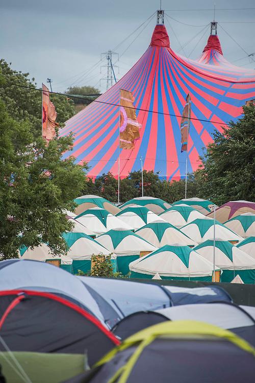 The John Peel tent behind Yurts and normal camping - The 2017 Glastonbury Festival, Worthy Farm. Glastonbury, 25 June 2017