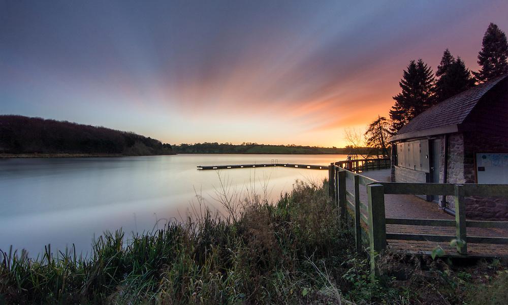 Sunrise over Thornton Reservoir, Leicestershire.