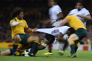 Peceli Yato of Fiji is stopped. Rugby World Cup 2015 pool A match, Australia v Fiji at the Millennium Stadium in Cardiff, South Wales  on Wednesday 23rd September 2015.<br /> pic by  Andrew Orchard, Andrew Orchard sports photography.