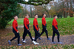 CARDIFF, WALES - Friday, November 16, 2018: Wales players during a pre-match walk at the Vale Resort ahead of the UEFA Nations League Group Stage League B Group 4 match between Wales and Denmark. Ben Woodburn, David Brooks, Connor Roberts, James Lawrence, Daniel James. (Pic by David Rawcliffe/Propaganda)