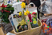 A gift basket by The Bulb Guy Rich Santoro is on display for the silent auction during the Milpitas Chamber of Commerce Crab Feed at Napredak Hall in San Jose, California, on March 6, 2015. (Stan Olszewski/SOSKIphoto)