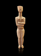Marble female Cycladic statue figurine with folded arms of the Spedos type. Early Cycladic Period II (2800-2300 BC) from Naxos, Cat No 6195. National Archaeological Museum, Athens. Black background.<br /> <br /> This Cycladic statue figurine is of the Spedos type standing on tip tie with bended knees and arms folded under the breasts with head raiised. .<br /> <br /> If you prefer to buy from our ALAMY PHOTO LIBRARY  Collection visit : https://www.alamy.com/portfolio/paul-williams-funkystock/cycladic-art-artefacts.html Type into the LOWER SEARCH WITHIN GALLERY box to refine search by adding background colour, place, museum etc<br /> <br /> Visit our CYCLADIC CIVILISATIONS PHOTO COLLECTIONS for more photos to download or buy as wall art prints https://funkystock.photoshelter.com/gallery-collection/Cycladic-civilisation-Ancient-Greek-Artefacts-art-Photos-Pictures-Images/C0000CmevVvnC.XU