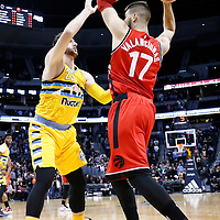 18 November 2016: Denver Nuggets center Jusuf Nurkic (23) defends on Toronto Raptors center Jonas Valanciunas (17) during the Toronto Raptors 113-111 OT victory over the Denver Nuggets, at the Pepsi Center, Denver, Colorado, USA.