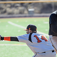 031114       Cable Hoover<br /> <br /> Gallup Bengal Lorenzo Gomez (14) reaches for the ball in an effort to pick off Aztec Tiger Dalton Watson (17) Tuesday at Ford Canyon Park in Gallup.