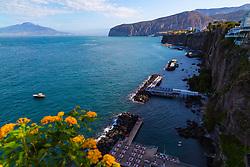 Sorrento, Italy, September 20 2017. Hotel bathing lidos in Sorrento, Italy. © Paul Davey