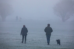 © Licensed to London News Pictures. 27/11/2020. London, UK. Dog walkers enjoy an early morning stroll through the fog in Richmond Park. Walkers, cyclists drivers and Black Friday shoppers were hit with dense fog and a heavy frost this morning as they did the daily commute through Richmond Park, South West London. Yesterday Health Secretary Matt Hancock set out his plans for the end of lockdown on the 2 of December and introduced a new Covid Tier 2 restriction system for London with shops, pubs and restaurants to open up again for the Christmas period. Photo credit: Alex Lentati/LNP