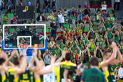 Fans celebrate victory during basketball match between national team of Ukraine and Lithuania of Eurobasket 2013 on September 15, 2013 in SRC Stozice, Ljubljana, Slovenia. (Photo By Matic Klansek Velej / Sportida.com)