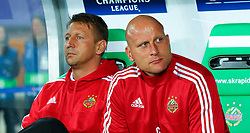 19.08.2015, Ernst Happel Stadion, Wien, AUT, UEFA CL, SK Rapid Wien vs Schachtjor Donezk, Playoff, Hinspiel, im Bild Zoran Barisic (Trainer SK Rapid Wien), Carsten Jancker (Co Trainer SK Rapid Wien)// during UEFA Champions League Playoff 1st Leg match between SK Rapid Vienna and FC Shakhtar Donetsk at the Ernst Happel Stadium in Vienna on 2015/08/19. EXPA Pictures © 2015, PhotoCredit: EXPA/ Sebstian Pucher