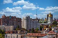 Kiev , Ukraine - August 30, 2019 :  Downttown rooftops cityscape skyline