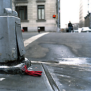 """Red """"Gap"""" Glove (right hand)<br /> 104th Street and WEA (South-East corner) 10-Feb., 2003/ 9.50 AM"""