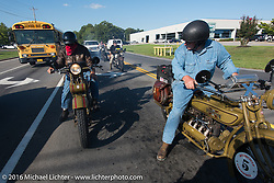 Jeff Tiernan riding his 1929 Henderson KJ alongside Steve DeCosa on his 1927 Harley-Davidson JD as they hit traffic coming into Clarksville during Stage 4 of the Motorcycle Cannonball Cross-Country Endurance Run, which on this day ran from Chatanooga to Clarksville, TN., USA. Monday, September 8, 2014.  Photography ©2014 Michael Lichter.