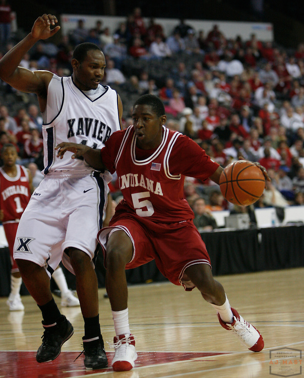 24 November 2007: Indiana guard  Jordan Crawford (5)  as the Indiana Hoosiers played Xavier in a college basketball game in the Chicago Invitational Challenge at the Sears Center in Hoffman Estates, Ill.