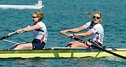 Munich, GERMANY,  USA W2-, Boot 1, Bow Eleanor LOGAN and Caroline LIND, on Sunday Finals Day, at the FISA World Cup Munich, held on the Olympic Rowing Course, 11/05/2008    [Mandatory Credit Peter Spurrier/ Intersport Images] Rowing Course, Olympic Regatta Rowing Course, Munich, GERMANY