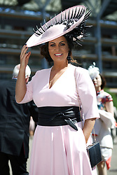 Designer Suzanne Ryan wearing her own Suzanne Ryan Millinery hat during day three of Royal Ascot at Ascot Racecourse.