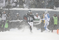 Philadelphia Eagles wide receiver DeSean Jackson #10 runs with the ball after scoring a touchdown during the NFL game between the Detroit Lions and the Philadelphia Eagles on Sunday, December 8th 2013 in Philadelphia. The Eagles won 34-20. (Photo by Brian Garfinkel)