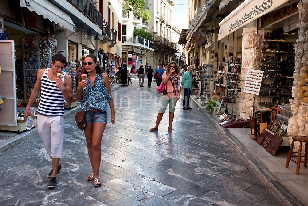 Monastiraki Flea Market shopping area. Monastiraki (little monastery) is a flea market neighborhood in the old town of Athens, and is one of the principal shopping districts in the capital. The area is home to clothing boutiques, souvenir shops, and specialty stores, and is a major tourist attraction in Athens and Attica for bargain shopping. The area is named after Monastiraki Square, which in turn is named for the Pantánassa church monastery that is located within the square. Athens is the capital and largest city of Greece. It dominates the Attica periphery and is one of the world's oldest cities, as its recorded history spans around 3,400 years. Classical Athens was a powerful city-state. A centre for the arts, learning and philosophy.