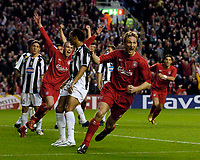 Photo. Jed Wee, Digitalsport<br /> Liverpool v Juventus, UEFA Champions League Quarterfinal First Leg, 05/04/2005.<br /> Liverpool's Sami Hyypia celebrates after his goal.