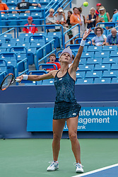 August 15, 2018 - Mason, Ohio, USA - Lesia Tsurenko (UKR) serves during Wednesday's second round of the Western and Southern Open at the Lindner Family Tennis Center, Mason, Oh. (Credit Image: © Scott Stuart via ZUMA Wire)