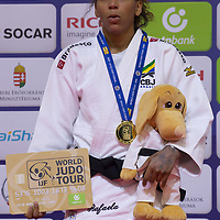 Rafaela Silva of Brazil celebrates her victory during an awards ceremony after the Women -57 kg category at the Judo Grand Prix Budapest 2018 international judo tournament held in Budapest, Hungary on Aug. 10, 2018. ATTILA VOLGYI
