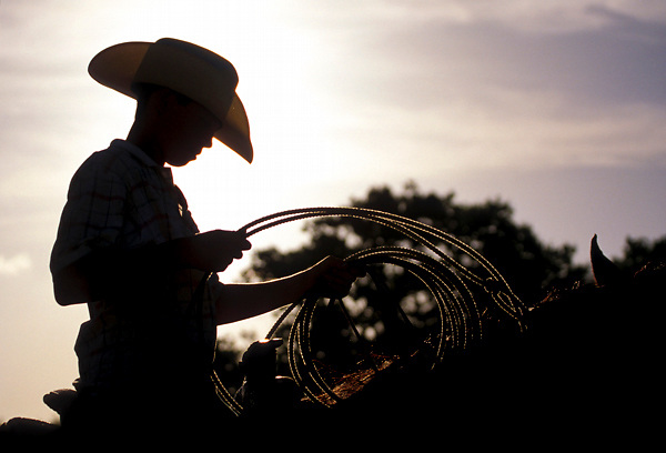 silhouette of a cowboy riding with a lasso at sunset