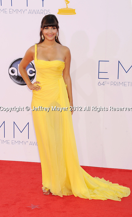 LOS ANGELES, CA - SEPTEMBER 23: Hannah Simone arrives at the 64th Primetime Emmy Awards at Nokia Theatre L.A. Live on September 23, 2012 in Los Angeles, California.