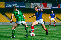Colin Crawford, footballer, Linfield FC, Belfast, N Ireland, UK, on the attack in a game against another Belfast club, Glentoran FC. 19850811004.<br /> <br /> Copyright Image from Victor Patterson, Belfast, UK<br /> <br /> t: +44 28 9066 1296 (from Rep of Ireland 048 9066 1296)<br /> m: +44 7802 353836<br /> e: victorpattersonbelfast@gmail.com<br /> <br /> www.images4media.com<br /> <br /> Please see my full Terms and Conditions of Use at https://www.images4media.com/p/terms-conditions - it is IMPORTANT that you familiarise yourself with them.<br /> <br /> Images used online incur an additional cost. This cost should be agreed in writing in advance. Online images must be visibly watermarked i.e. © Victor Patterson or that of the named photographer within the body of the image. The original metadata must not be deleted from images used online.<br /> <br /> This image is only available for the use of the download recipient i.e. television station, newspaper, magazine, book publisher, etc, and must not be passed on to a third party. It is also downloaded on condition that each and every usage is notified within 7 days to victorpattersonbelfast@gmail.com.<br /> <br /> The right of Victor Patterson (or the named photographer) to be identified as the author is asserted in accordance with The Copyright Designs And Patents Act (1988). All moral rights are asserted.