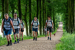 Attendees in training for the Camino Francés in El Bierzo, de camino invierno and Camino Portugués 2021 around Papendal on July 04, 2021 in Arnhem, Netherlands