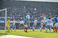 Portsmouth Midfielder, Tom Naylor (7) scores a goal with a header to make it 1-1 during the EFL Sky Bet League 1 match between Portsmouth and Coventry City at Fratton Park, Portsmouth, England on 22 April 2019.